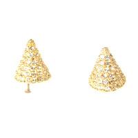 CC Skye Mini Rock Stud Earrings in Pave Gold