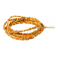 Urban Gem Brown and Gold Leather Chain Wrap Bracelet