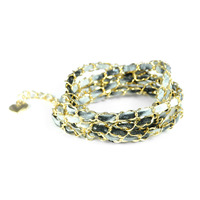 Urban Gem Black Glitter and Gold Chain Wrap Bracelet