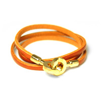 Urban Gem Double Circle Clasp Leather Wrap Bracelet in Brown