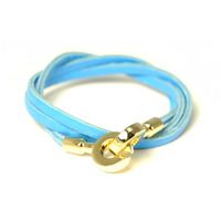 Urban Gem Double Circle Clasp Leather Wrap Bracelet in Blue