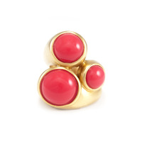 Lucas Jack Triple Round Ring in Red Coral