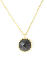 Lucas Jack Small Faceted Circle Pendant Necklace in Smoky Quartz