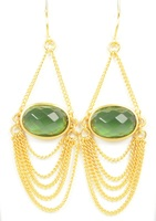 Lucas Jack Drapey Chain Earrings in Green