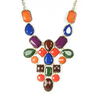 Urban Gem Faux Stone Bib Necklace in Technicolor