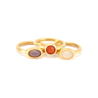 Lucas Jack Stackable Ring Set in White Purple and Orange