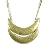 Urban Gem Two Moons Necklace in Bronze
