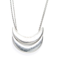 Urban Gem Two Moons Necklace in Silver