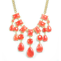 Urban Gem Smoke Stone Bib Necklace in Coral