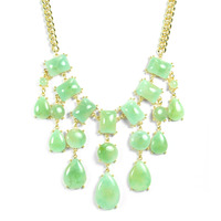 Urban Gem Smoke Stone Bib Necklace in Menthol