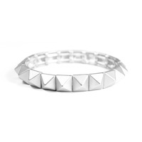 Urban Gem Pyramid Stud Stretch Bracelet in Silver