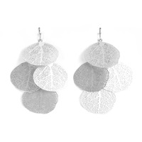 Urban Gem Skeleton Leaf Earrings in Silver