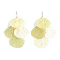 Urban Gem Skeleton Leaf Earrings in Gold