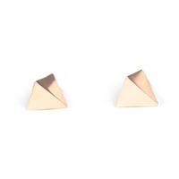 Urban Gem Pyramid Spike Earrings in Rose Gold