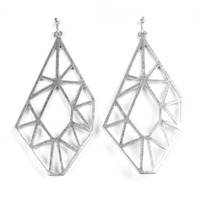 Urban Gem Geometry Drop Outline Earrings in Silver