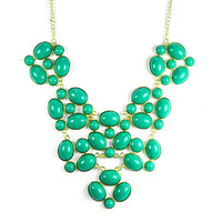 Urban Gem Ovals and Circles Bib Necklace in Aquamarine