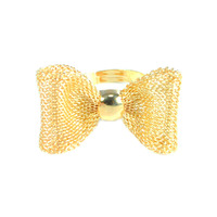 Urban Gem Chain Mail Bow Tie Ring