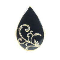 Urban Gem Ornate Enamel Teardrop Ring in Black