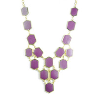 Urban Gem Honeycomb Bib Necklace in Purple