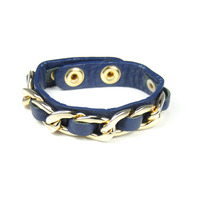 Urban Gem Chained Leather Snap Bracelet in Navy