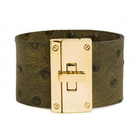 CC Skye Resort Cuff in Green Ostrich