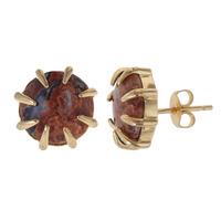 Isharya Rose Jasper Claw Round Stud in 18k Gold