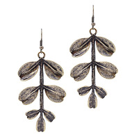 Urban Gem Olive Branch Earrings in Burnished Gold
