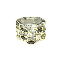 Urban Gem Sterling Silver Stacked Rope Ring in Pyrite