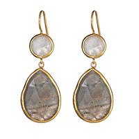 Margaret Elizabeth Two Stone Drop in Moonstone and Labradorite
