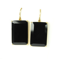 Jules Smith Emerald Cut Drops in Black Onyx