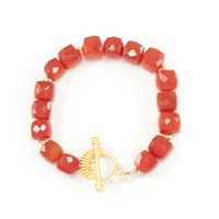 Margaret Elizabeth Puffed Faceted Bracelet in Carnelian