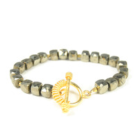 Margaret Elizabeth Puffed Faceted Bracelet in Pyrite