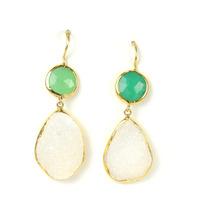 Margaret Elizabeth Two Stone Drop Earrings in Chrysophase and White Druzy