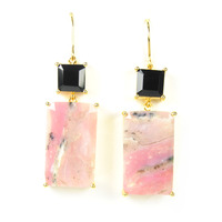 Margaret Elizabeth Emerald Cut Drops in Onyx and Pink Quartz