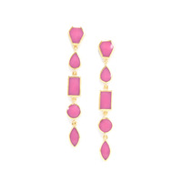 Isharya Pink Flambe Shattered Enamel Earrings