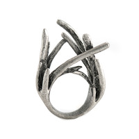Urban Gem Twig Ring in Antique Silver