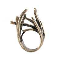 Urban Gem Twig Ring in Antique Gold