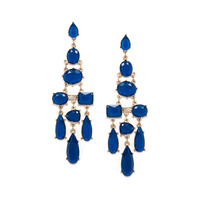 Urban Gem Chandelier Faux Stone Earrings in Royal Blue