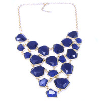 Urban Gem Faceted Cascade Necklace in Navy