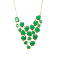 Urban Gem Faceted Cascade Necklace in Green