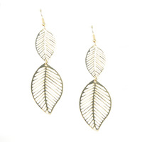 Urban Gem Falling Leaf Earrings in Gold