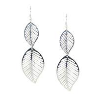 Urban Gem Falling Leaf Earrings in Silver