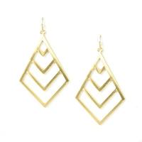 Urban Gem Chevron Sunburst Earrings in Gold