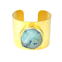 Charlene K Raw Stone Cuff in Smoky Blue Agate