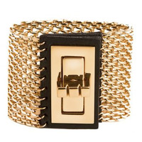 CC Skye Turnlock Cage Cuff in Black and Gold