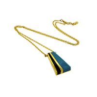 Lucas Jack Colorblock Trapezoid Necklace in Turquoise