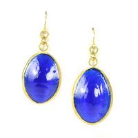 Made Mayai Glass Earrings in Blue