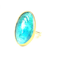 Made Glass Cocktail Ring in Turquoise