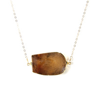 Robyn Rhodes Roland Necklace in Gold and Brown Agate