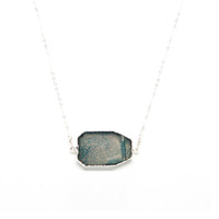 Robyn Rhodes Roland Necklace in Silver and Blue Agate